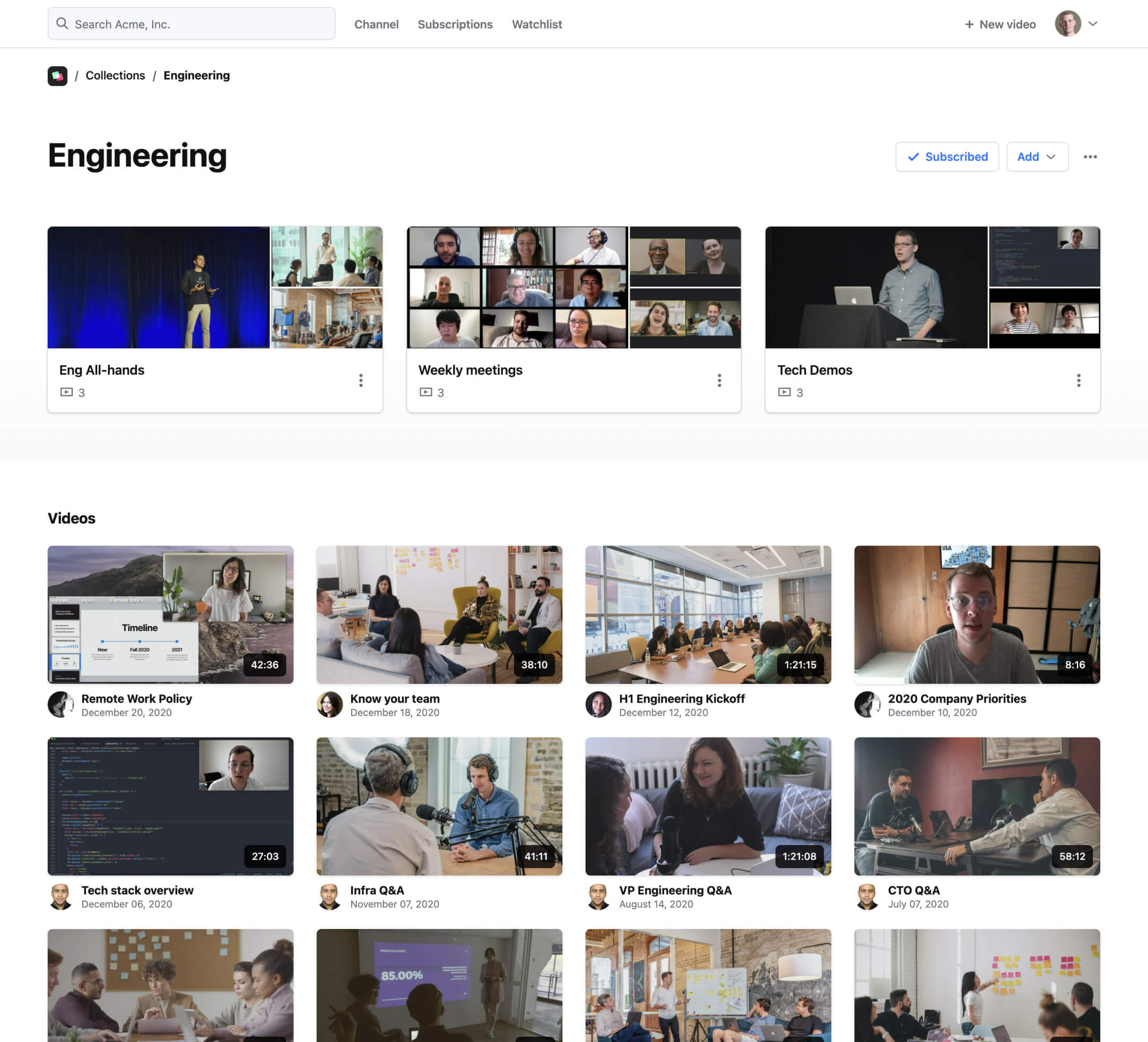 A screenshot showing how you can organize your videos in Rewatch.