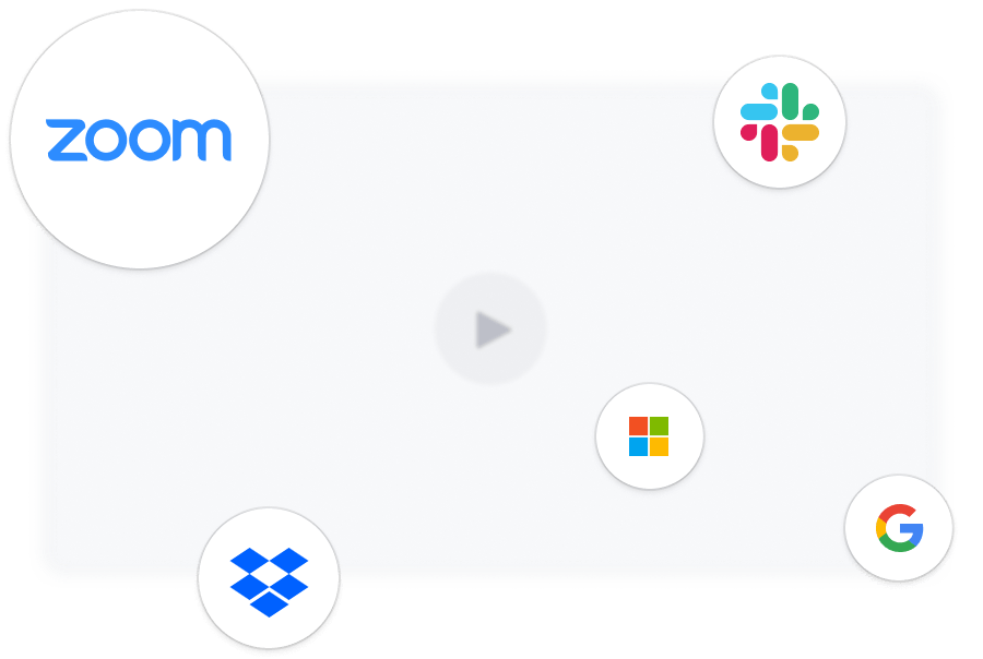 An illustration showing all the integrations that work with Rewatch including Zoom, Okta, Slack, and more.
